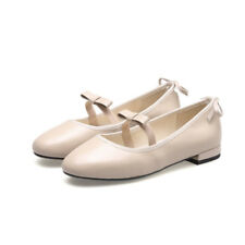 Ballet Flats Bowknot Sweet Round Toe Leather Solid Women Girls Low Heel Shoes