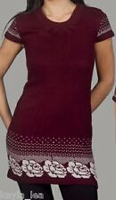 Burgundy Floral Cap Sleeve Cardigan/Sweater Tunic/Mini
