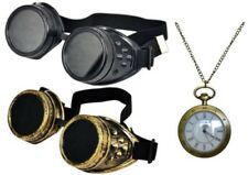 STEAMPUNK GOTHIC MULTI LENS GOGGLES BLACK BRASS + VICTORIAN FOB NECKLACE WATCH