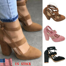 Women's Ankle Strap Suede Pointed Lace up Block High Heels Shoes Ladies Sandals