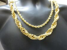"""14KT GOLD PLATED 7MM TO 16MM ROPE CHAIN HIP HOP BLING NECKLACE 24""""-36"""""""