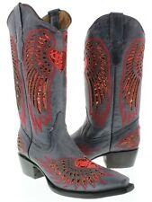 Women's Denim Blue Red Black Heart Sequins Leather Cowgirl Boots Pointed Toe