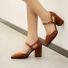 Mary Jane Ladies Pointy Toe Faux Suede Low Block Heel Ankle Strap Sandal Shoes