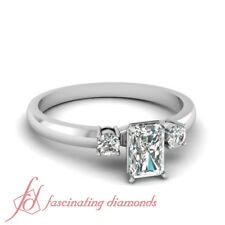 Three Stone Engagement Ring 0.60 Ct GIA Certified Radiant Cut D-Color Diamond