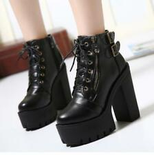 Women's Chunky High Heel Lace Up Buckle Platform Korean Ankle Boots Biker Shoes