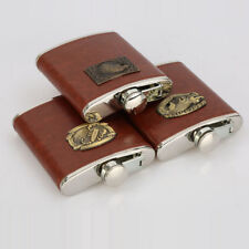 Pocket Hip Flask 8oz Stainless Steel with Brown Leather Wrapped Cover Pick
