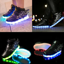 Kids Boys Girls LED Shoes Light Up Luminous Children Trainers Sneakers Black