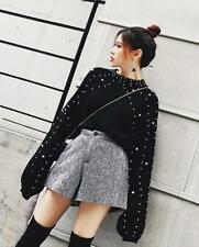Womens Long Sleeves Tops Beads Decor Crew Neck Pullover Sweaters Blouses Loose