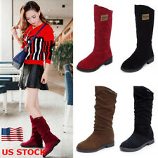 Womens Suede Low Block Heel Slip on Mid-Calf Boots Ladies Flat Shoes Size Party