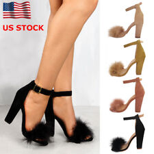 US Women Ankle Strap Fluffy Block High Heel Shoes Ladies Peep Toe Sandals Party