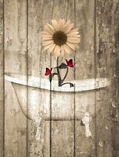 Sunflower Butterflies Rustic Red Brown Home Decor Matted Wall Art Picture