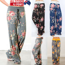 AU Womens Floral High Waisted Wide Leg Pants Trouser Palazzo Legging PLUS SIZE