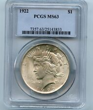 1922 Silver Peace Dollar MS 63 PCGS