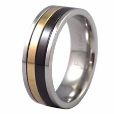 Mens 316L Stainless Steel Black Gold Silver Tone Ring 8mm Wide Band Size 9.5-15