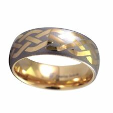 Mens 18k Gold Celtic Knot Ring 8mm Wide Tungsten Carbide Band Size12-14