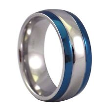Electric Blue Stainless Steel Ring 8mm Wide Comfort Fit Wedding Band Size 7.5-15