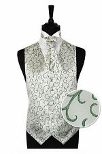 "Men's Green Scroll Wedding Party Waistcoat - Size 34"" - 60"" Choice Cravat or Tie"