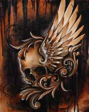 Winged Skull by Manuel Valenzuela Brown Tattoo Canvas Giclee Art Print