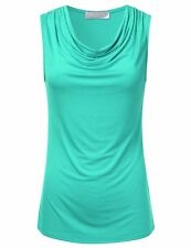 FLORIA Womens Cowl-Neck Ruched Draped Sleeveless Stretchy Blouse Tank Top (S-3X)