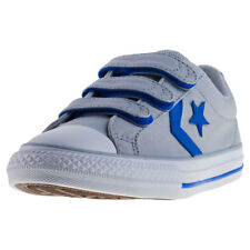 Converse Star Player Ev 3v Ox Kids Grey Blue Canvas Trainers