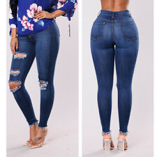 Vintage Womens Ripped Jeans Stretch Skinny Fit Denim Pencil Distressed Pants