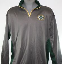 NEW Mens NFL Majestic Green Bay Packers Grey Poly 1/4 Zip Football Pullover