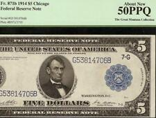 LARGE 1914 $5 DOLLAR BILL FEDERAL RESERVE NOTE PAPER MONEY Fr 871b PCGS 50 PPQ
