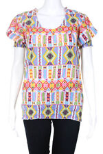 Julie Brown White Cotton Blend Short Sleeve Scoop Neck Abstract Print Size  6