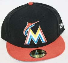 NEW Mens NEW ERA Miami Marlins Black Orange MLB 59FIFTY Baseball Fitted Hat Cap