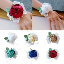 Wedding Prom Party Bridesmaid Pearls Corsage Bracelet Hand Wrist Flower Headwear