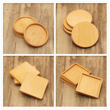 Square / Round Wood Tea Cup Placemat Heat Insulation Coaster Mat Pad Table Decor