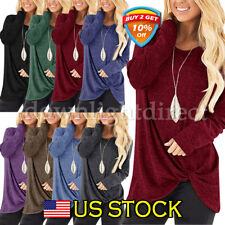 Women's Top Solid Causal Long Sleeve Crew Neck Loose Twist Blouses Tops Shirt US