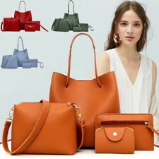 4Pcs/Set Women PU Leather Handbag Shoulder Bags Tote Purse Satchel Messenger 520