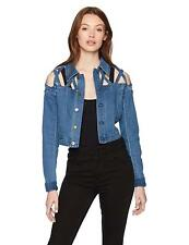findersKEEPERS Women's Inverse Cropped Buttoned Denim Jacket with Lattice Cut