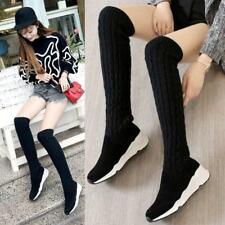 Womens Suede Leather Round Toe Fashion Long Sneakers Over Knee High Boots