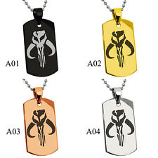 Stainless Steel Star Wars Mandalorian Kyr'BES Engraved Dog Tag Pendant Necklace