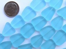Sea Glass BEADS Freeform 15mm Blue Seafoam Green Opaque 5 Strand Hank frosted