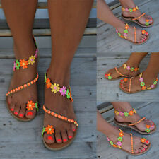 Women Boho Beads Flower Sandals Gladiator Summer Beach Flip Flops Flat Shoes Siz