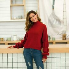 Long Sleeve Loose Tops Knitwear Casual Knitted Jumper Sweater Womens Knit Shirt