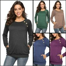 Blouse Long Sleeve Womens T-Shirt Casual Loose Shirt Solid Pullover Top O Neck