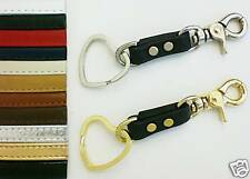 Heart Theme Key Ring & Genuine Leather Trigger Snap Keyring Fob - USA 11 Colors