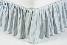 BRIGHTON BLUE TICKING STRIPE Twin Full Queen or King BED SKIRT DUST RUFFLE