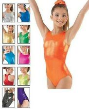 NEW Dance Gymnastics Solid Foil Metallic Tank Racer Leotard Child or Adult