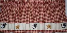 HP Prim Roosters 'n Stars Valance*Prim Rooster Curtain Homespun Hand Painted