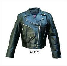 Ladies Black Leather Classic Motorcycle Biker Jacket