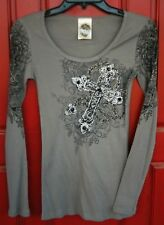 VOCAL CRYSTAL CROSS NECKLACE FLEUR DE LIS SCOOP NECK LONG SLEEVE T SHIRT BIKER