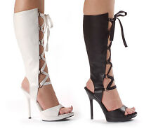 """Black or White Sandal Bootie 5"""" Heels Open Toe Lace-up Sizes 5-12 NIB 502-HOLLY"""