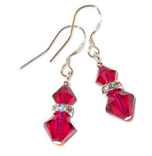 RUBY RED Crystal Earrings Sterling Silver Pierced or Clip-on Swarovski Elements