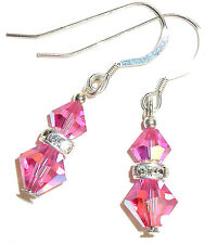 ROSE PINK Crystal Earrings Sterling Silver Pierced or Clip-on Swarovski Elements
