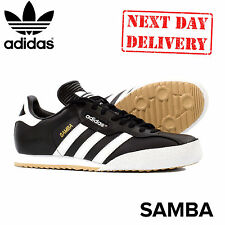 ADIDAS SAMBA SUPER LEATHER MENS BLACK WHITE LACE UP INDOOR FOOTBALL TRAINERS UK